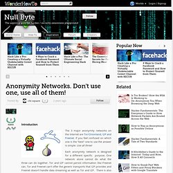 Anonymity Networks. Don't use one, use all of them!
