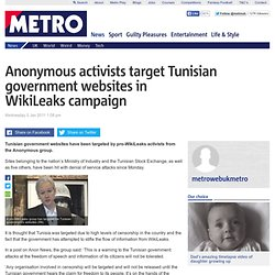 Anonymous activists target Tunisian government websites in WikiLeaks campaign
