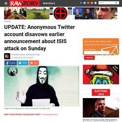 Hacker collective Anonymous claims ISIS has plans for more attacks on Sunday
