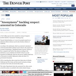 """Anonymous"" hacking suspect arrested in Colorado"