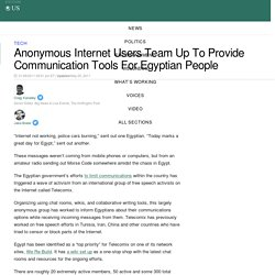 Anonymous Internet Users Team Up To Provide Communication Tools For Egyptian People