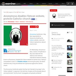 Anonymous disables Vatican website, protests Catholic church - National Anonymous