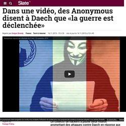 Dans une vidéo, des Anonymous disent à Daech que «la guerre est déclenchée»