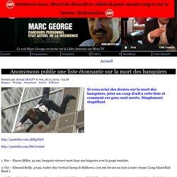 Anonymous publie une liste étonnante sur la mort des banquiers