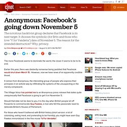 Anonymous: Facebook's going down November 5
