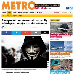 Anonymous answers frequently asked questions (about Anonymous) on AnonHQ.com