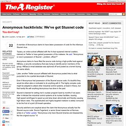 Anonymous hacktivists: We've got Stuxnet code