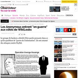"""Les Anonymous entrent """"en guerre"""" aux côtés de WikiLeaks - Vu sur le web"""