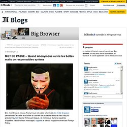 MOT DE PASSE – Quand Anonymous ouvre les boîtes mails de responsables syriens