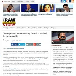 'Anonymous' hacks security firm that probed its membership‎ | Raw Story