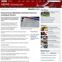 Anonymous Wikileaks activists move to analogue tactics
