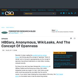 HBGary, Anonymous, WikiLeaks, And The Concept Of Openness