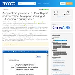EFSA 17/05/19 Anoplophora glabripennis ̶ Pest Report and Datasheet to support ranking of EU candidate priority pests