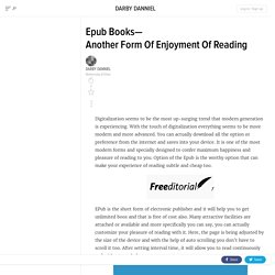 Epub Books—Another Form Of Enjoyment Of Reading