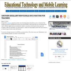 Educational Technology and Mobile Learning: Another Excellent New Google Docs Feature for Teachers