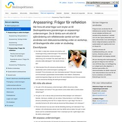 Anpassning: Frågor för reflektion