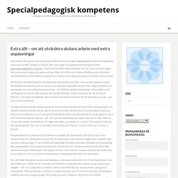 Extra allt - om att utvärdera skolans arbete med extra anpassningar - Specialpedagogisk kompetens