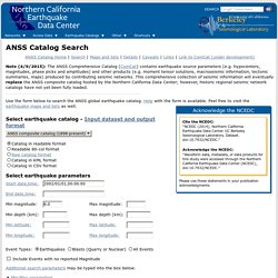 ANSS Catalog Search