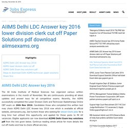 AIIMS Delhi LDC Answer key 2016 pdf lower division clerk Key Solutions
