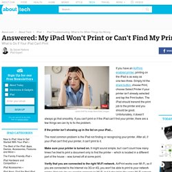 Answered: My iPad Won't Print or Can't Find My Printer