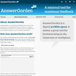 AnswerGarden - Plant a Question, Grow Answers! Generate a live word cloud with your audience.