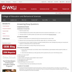 Answering Essay Questions in Comprehensive Exams - CEBS - WKU