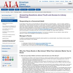 Answering Questions about Youth and Access to Library Resources