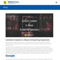 Content Creation is About Answering Questions