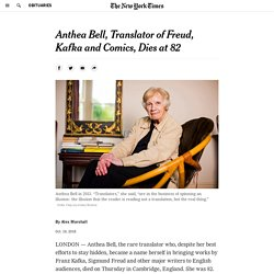 Anthea Bell, Translator of Freud, Kafka and Comics, Dies at 82