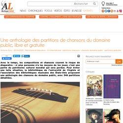 Une anthologie des partitions de chansons du domaine public, libre et gratuite