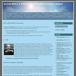 Anthology Ayer (A2) - A-Level Ethics & Philosophy at Spalding Grammar School