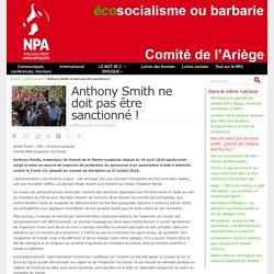 Anthony Smith ne doit pas être sanctionné ! Publié samedi 1er août 2020