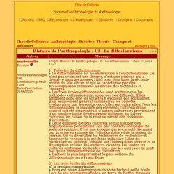 Histoire de l'anthropologie : III - Le diffusionnisme