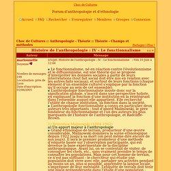 Histoire de l'anthropologie : IV - Le fonctionnalisme