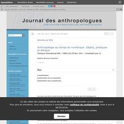 Anthropologie au temps du numérique. Objets, pratiques et éthique
