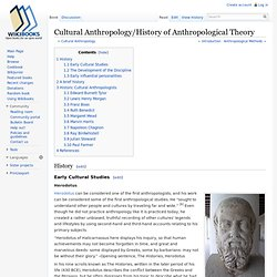 Cultural Anthropology/History of Anthropological Theory