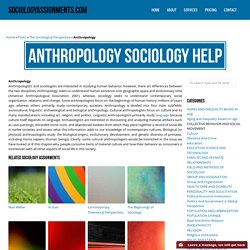 Anthropology Sociology Homework & Assignment Help