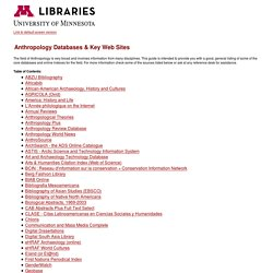 Anthropology Databases & Key Web Sites