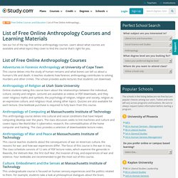 List of Free Online Anthropology Courses and Learning Materials