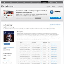 Anthropology - Download free content from Oxford University on iTunes