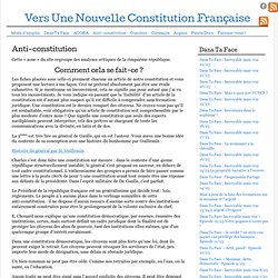 Anti-constitution mode d'emploi