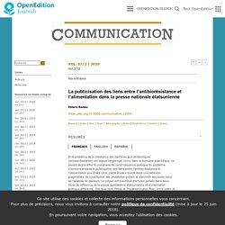 OPEN EDITION - 2020 - La publicisation des liens entre l'antibiorésistance et l'alimentation dans la presse nationale étatsunienne