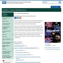 CDC - Antimicrobial Resistance Threat Report 2013.