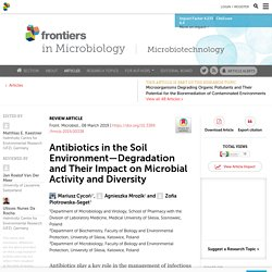 FRONT. MICROBIOL. 08/03/19 Antibiotics in the Soil Environment—Degradation and Their Impact on Microbial Activity and Diversity