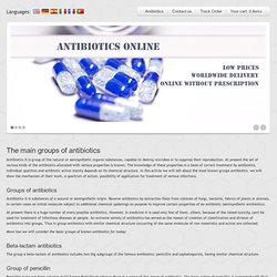 The main groups of antibiotics @ Antibiotics online pharmacy, buy antibiotics online without prescription