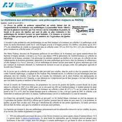 AMVPQ 22/04/13 La résistance aux antibiotiques : une préoccupation majeure au MAPAQ