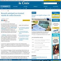 Renault anticipait un éventuel suicide de cadres licenciés