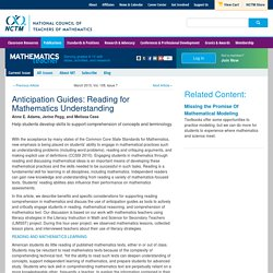 Anticipation Guides: Reading for Mathematics Understanding
