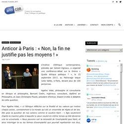 Anticor à Paris : «Non, la fin ne justifie pas les moyens !»