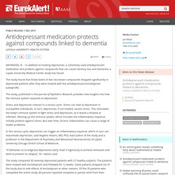 Antidepressant medication protects against compounds linked to dementia